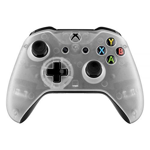 eXtremeRate Hülle für Xbox One S/X,Case Schutzhülle Hülle Gehäuse Cover Schale Skin Shell Zubehör Set für Xbox One S/Xbox One X Controller(Weiß Transparent)