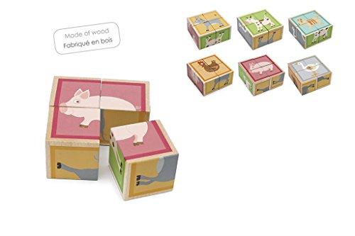 Scratch- Puzzle 4 Cubo Madera granja10x10, Multicolor (Dam bvba 6181102) , color/modelo surtido
