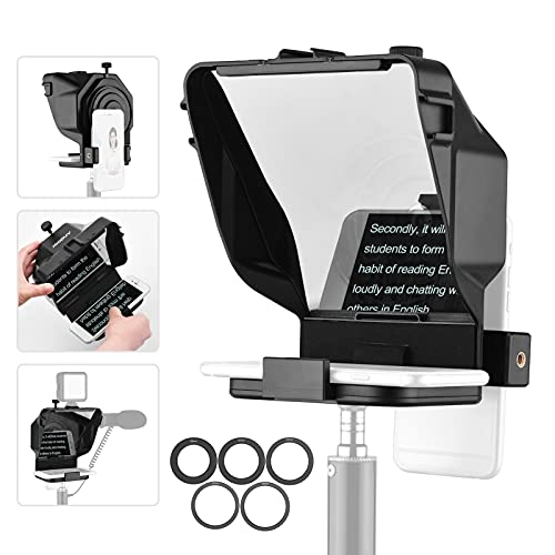 Teleprompter pequeño portátil para Youtube Tiktok Video Live Streaming, teléfono Inteligente, Teleprompter para entrevista en Tiempo Real (Color : For Camera+Phone~with Stand)