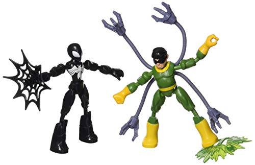 Spiderman F0239 Marvel Spider-Man Bend and Flex Black Suit Spider-Man gegen Doc Ock Action-Figuren, 15 cm große biegbare Figuren, für Kids ab 4 Jahren