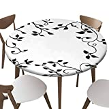 "SfeatrutMAT Indoor Outdoor Polyester Fitted Tablecloth Cover Flannel Backed Lining Stretched to Fits up 45""-56"" Diameter Tables Hand Drawn Vines in Pretty Border Pattern"