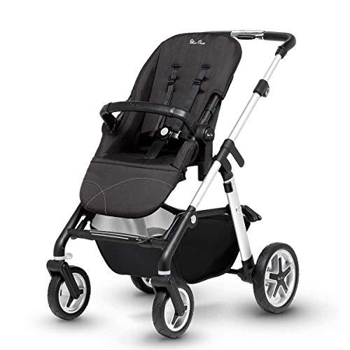 Silver Cross Pioneer Baby Kinderwagen und Kinderwagen Satin Silber Chassis, Sitzeinheit und Babytragetasche, ab Geburt bis 25 kg, mit Zubehör