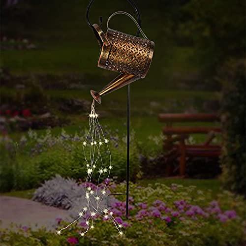 SUREN Dusche Garten Kunst LED Licht mit Stab Rebe Solar Gießkanne Lichter Draht Wasserdicht Lichterkette Outdoor Ausgießen Sternenfee Wasserfall Licht für Hof Garten Rasen Weg Lampe Dekoration