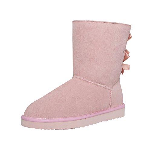 SKUTARI Playful Double Bow Boots, handgefertigte italienische Lederstiefel für Damen mit gemütlichem Kunstfellfutter, Rutschfester und Gepolsterter Sohle, Pink/5030, 37 EU