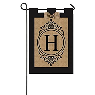"Evergreen ""H"" Monogram Double-Sided Burlap Garden Flag - 12.5""W x 18 H"