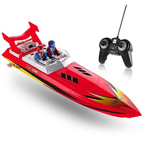 Top Race Bote de Velocidad de Agua con Control Remoto, RC Boat para niños, Juguete Piscinas y Lagos 8 mph (Rojo)