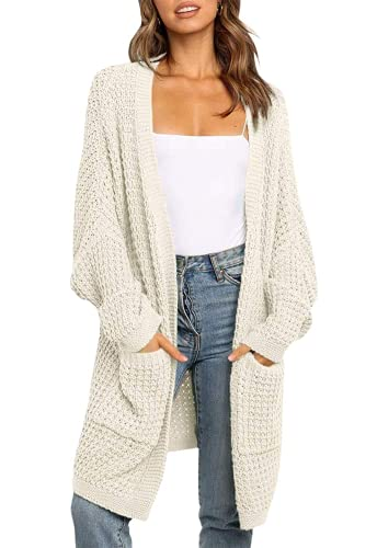 ZESICA Women's Long Batwing Sleeve Open Front Chunky Knit Cardigan Sweater,B&Apricot,Small