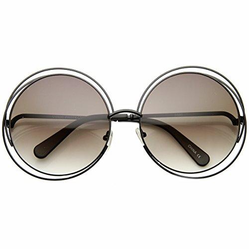 Women's Oversized Full Metal Wire Frame Glamour Round Sunglasses (Black Lavender)