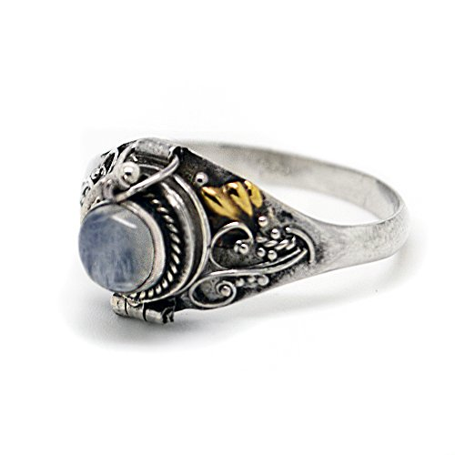 Sterling Silver Round Rainbow Moonstone Poison Locket Box Ring Size 9(Sizes 4,5,6,7,8,9,10,11)