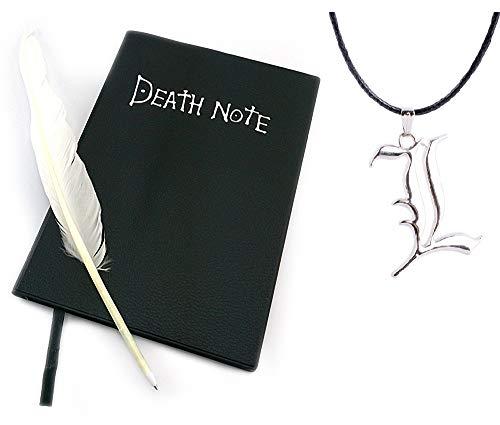 Clafund -Set di Anime Replica Scrap Book, Nero+ La Penna di Piume + La Collana Ciondolo Elle L