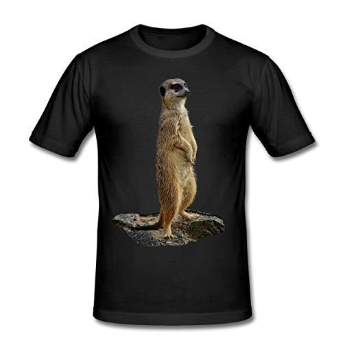 Erdmännchen Männer Slim Fit T-Shirt, L, Schwarz