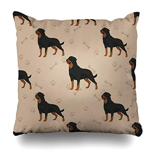 Throw Pillow Covers Domestic 2F Dog Rottweiler Pattern Face Foot All Black Breed Canine Pet Home Decor Pillow Case Square Zippered Pillowcase Fundas para Almohada 26x26Inch(65cmx65cm)