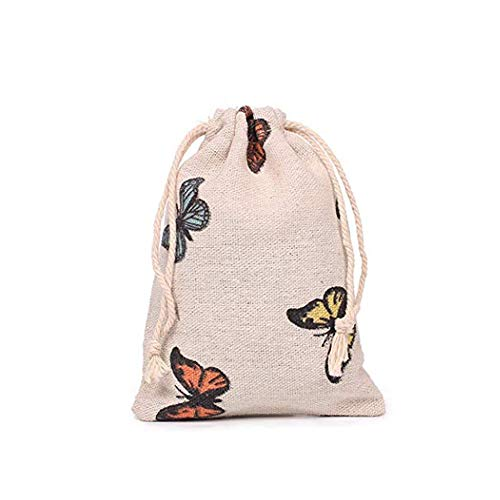 Pack of 12 Butterfly Burlap Drawstring Gift Bags for Party Wedding Favors Giveaways, Cotton Linen Candy Pouch Jute Sack Jewelry Bag (13x18cm)