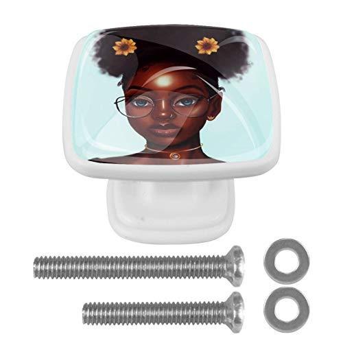 4 tiradores de cristal para armario de cocina, armario de cocina, armario y armario, con gafas, color negro