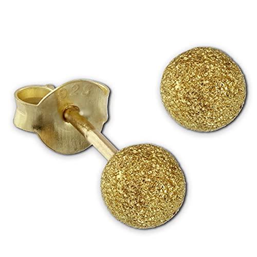 SilberDream Pendientes de 4 mm para mujer, plata 585, bola dorada, SDO9514Y