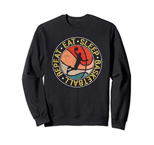 Vintage Eat Sleep Basketball Repeat Retro Dunking Sudadera