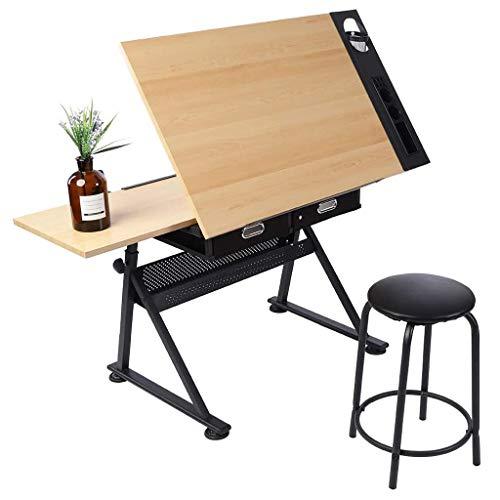 Lgan Zeichentisch Kinder Staffelei, Höhenverstellbar Schreibtisch Mit Lagerung, Ahornplatte Zeichenbrett, Bürotisch Maltisch