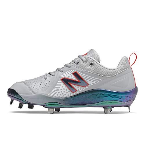 New Balance Women's Fresh Foam Velo V2 Metal Softball Shoe, Grey/Flame/Irridescent, 10.5