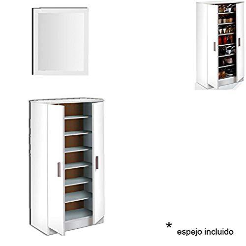 HABITMOBEL Armario 7 estantes Interiores con Espejo, Mueble Zapatero, Oficina o Mueble recibidor, Blanco, Dimensiones 108 x 55 x 36cm