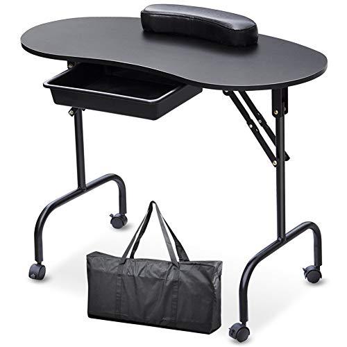 Table de manucure pliante portable mobile Table de clou Studio de beauté Salon de beauté,Black