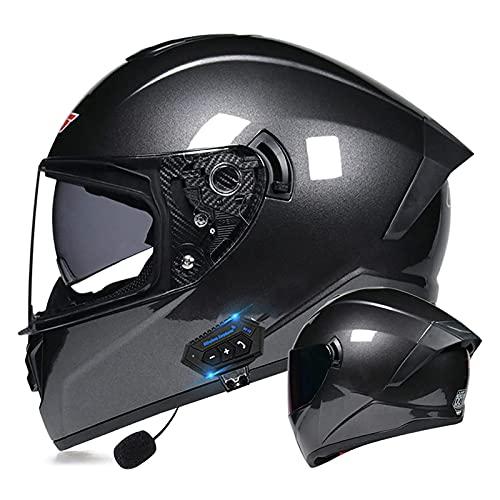 LIRONGXILY Casco Moto Modular Casco Modular Integral Casco Moto Bluetooth Integrado Casco Moto Jet con Doble Visera para Hombre O Mujer ECE Homologado (Color : #12, Size : 55-56cm(S))