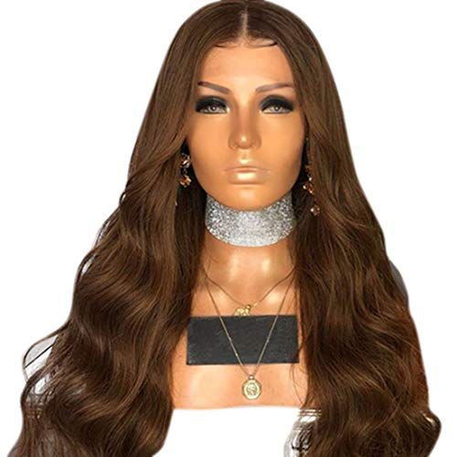BXGZXYQ Frauen Perücke Stirnband kleine Welle Lange lockige Haare Chemiefaser Haar Set Composite Haar Lace Perücke Rollenspiel Perücke (Farbe : Brown, Size : 65cm)