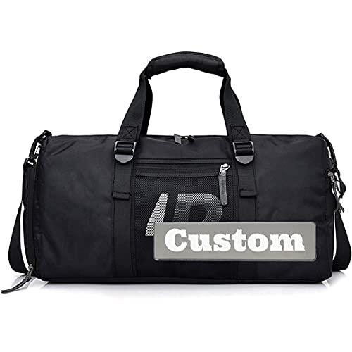Personalizado Nombre Personalizado Mujeres Acolchadas Bolsa de Lona Extra Grande de Nylon para Hombres a Prueba de Agua (Color : Black, Size : One Size)