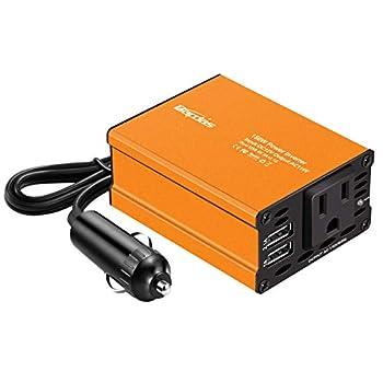 Bapdas 150W Car Power Inverter DC 12V to 110V AC Car Converter2 USB Ports Car Adapter for Plug Outlet New Model-Orange