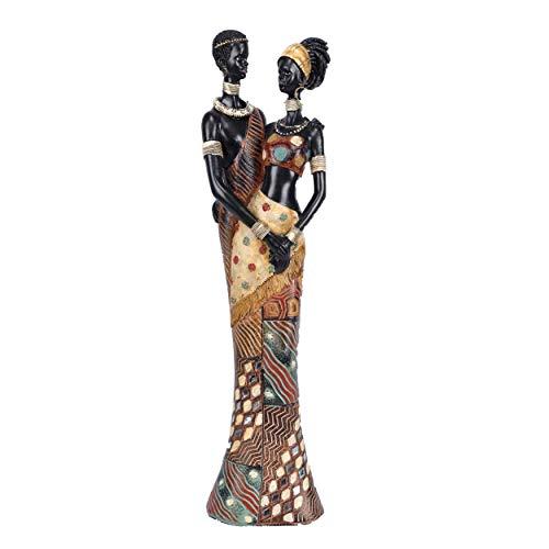 Gran estatua africana de diseño original moderno en resina Massai Decoración de la pareja de un hombre y una mujer africana enamorados, estatuilla para decorar su habitación de la casa Decoración de l