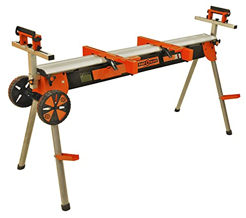 Bora Folding Miter Saw Power Tool Stand with Wheels, Heavy Duty Contractor...