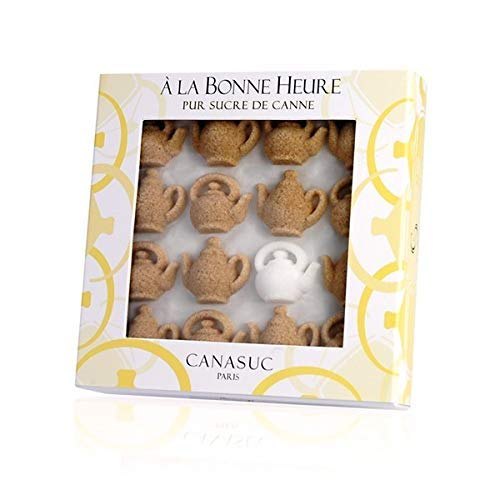 Canasuc Paris, A La Bonne Heure, Pur Sucre de Canne,'Window Gift Box' of 32 Assorted French Molded Teapot Sugar Pieces, White & Amber, 3.35 Oz