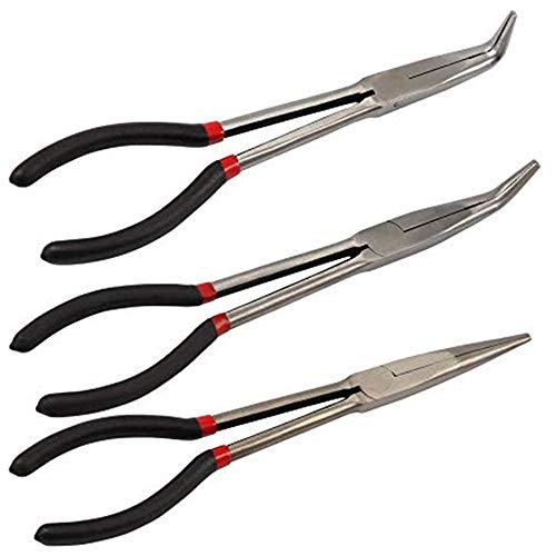 Juego de 3 alicates de punta curvada de 11 pulgadas extra largos, herramienta de mano para equipo mecánico