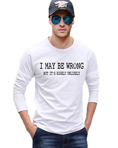 Mens t Shirt I May Be Wrong Funny Cotton Men's Long Sleeve T-Shirts Hip Hop Men's Sportswear,white1,S