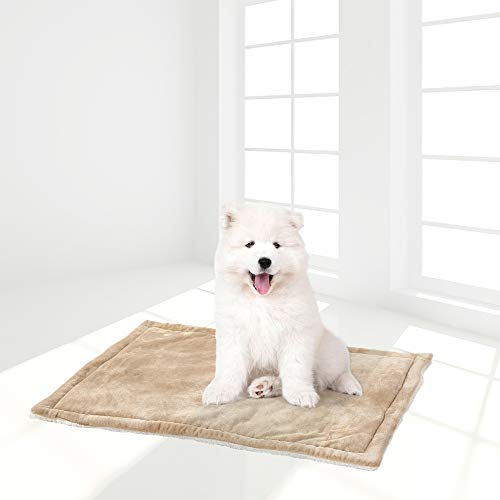 """Panku Dog Cat Bed Mats Crate Pad Micro Terry Bed Sherpa Flannel Reversible (24""""x36"""", Taupe/White) Categories"""