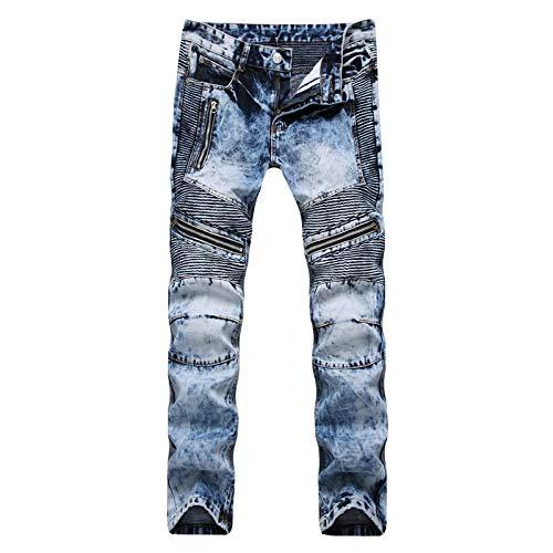 Pantalones Vaqueros Slim Fashion Classic Hombres Vintage Slim Fit Straight Biker Jeans Cremallera Múltiple Costuras Plis