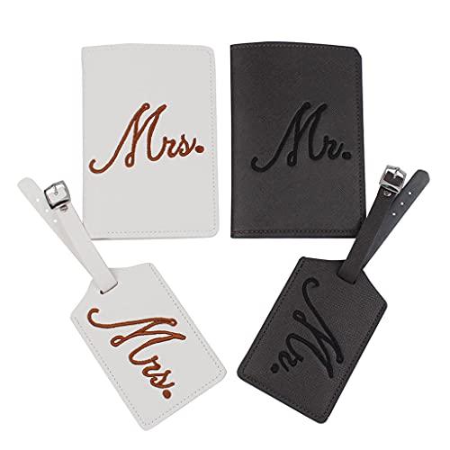 PING Bordado Mr Mrs Pasaporte Fundas de equipaje Etiquetas de regalo para parejas, luna de miel, protector de tarjeta de viaje para bodas, regalos de despedida de soltera