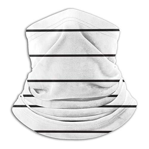 Bklzzjc Skinny Stripe Black on White Headwear Neck Guêtre Warmer Winter Ski Tube Scarf Mask Fleece Face Cover Windproof for Men Women Customized