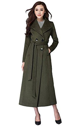 Chickle Women's Lapel Collar Belt Double Breasted Walker Long Coat S Green