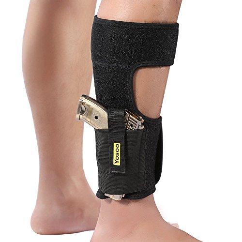Knöchel Holster für Verdeckte Carry Neopren Elastische Gürtelholster mit Magazintaschen für Kleine Rahmen Pistole Handgun von Yosoo, passt Männer Frauen, Schwarz