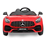 JAXPETY 12V Benz Licensed Electric Powered Kids Ride-on Car Toy 2 Seat w/ Remote Control LED Light, Red