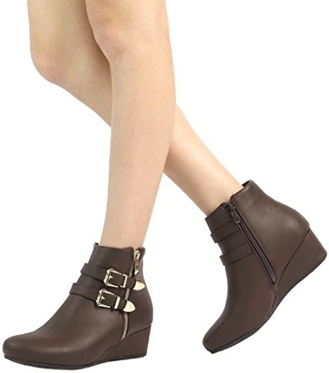 DREAM PAIRS New Women's GHILE Fashion Double Buckle Side Zipper Platform Wedge Heel shoes Booties