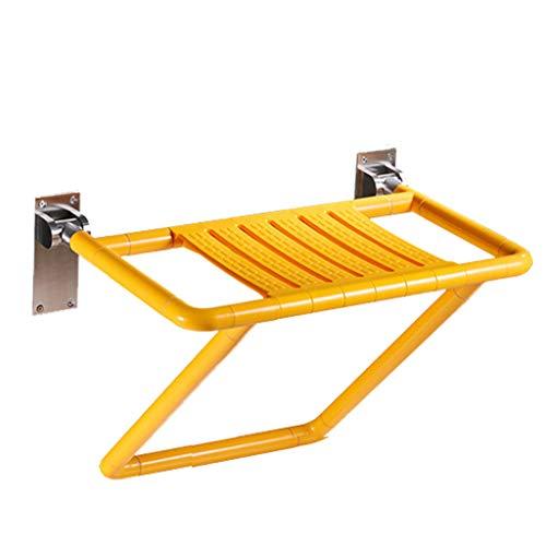 Mjb Taburete de baño grande plegable, silla de ducha de acero inoxidable y asiento de ducha con patas más votadas, asiento de ducha antideslizante, para personas mayores (color: amarillo)