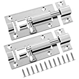 Door Bolt Lock, 2 Pack 3 Inch Stainless Steel Sliding Latch Lock with Screws for All Type of Internal Doors