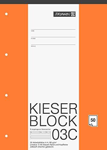 5er Pack BRUNNEN 1042923 Briefpapierblock (Kieserblock, Schullineatur 3, A4, 50 Blatt) weiß