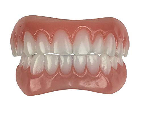 Instant Smile Comfort Fit Flex Teeth - Upper and Lower Matching Set, Bright White Shade! Fix Your Smile At Home Within Minutes!