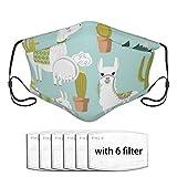 Set de lindos elementos de alpaca y cactus cara lavable protector bucal con filtro reemplazable y válvulas de respiración, carbón activado suave transpirable al aire libre/deportes/motor/ciclista