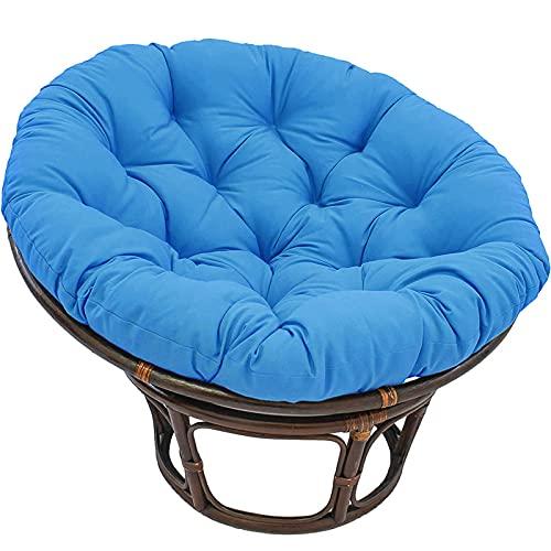 Papasan - Cojín redondo para silla Papasan, funda de cojín de columpio, impermeable al aire libre, cojín de silla Papasan con corbatas, cojines de gran tamaño, azul, 90 x 90 cm