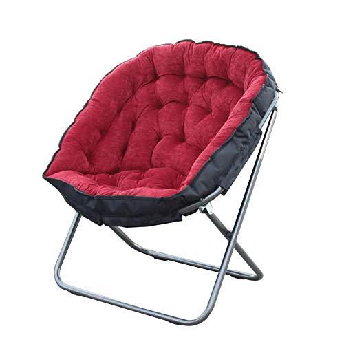 Pliant Chaise Soucoupe de Lune, Très épais Rond Haut Dos Fauteuil Pliable Chaise Pliante, Siège de Sol Chaise Chaise Longue Bureau de Maison Patio-Rouge