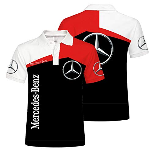 Camisa De Polo para Hombre con Estampado Digital B.e.n.z De Manga Corta (1,M)