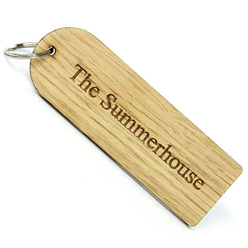 Oak Veneer Engraved Key Ring. Personalised Wooden Key Fob. Customise with Your Message. Great for Front Door, Bike Shed, Summerhouse. B&B's